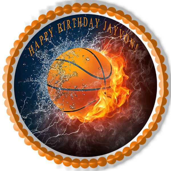 Basketball Fire Edible Cake And Cupcake Topper Edible