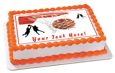 Basketball - Edible Cake Topper, Cupcake Toppers, Strips