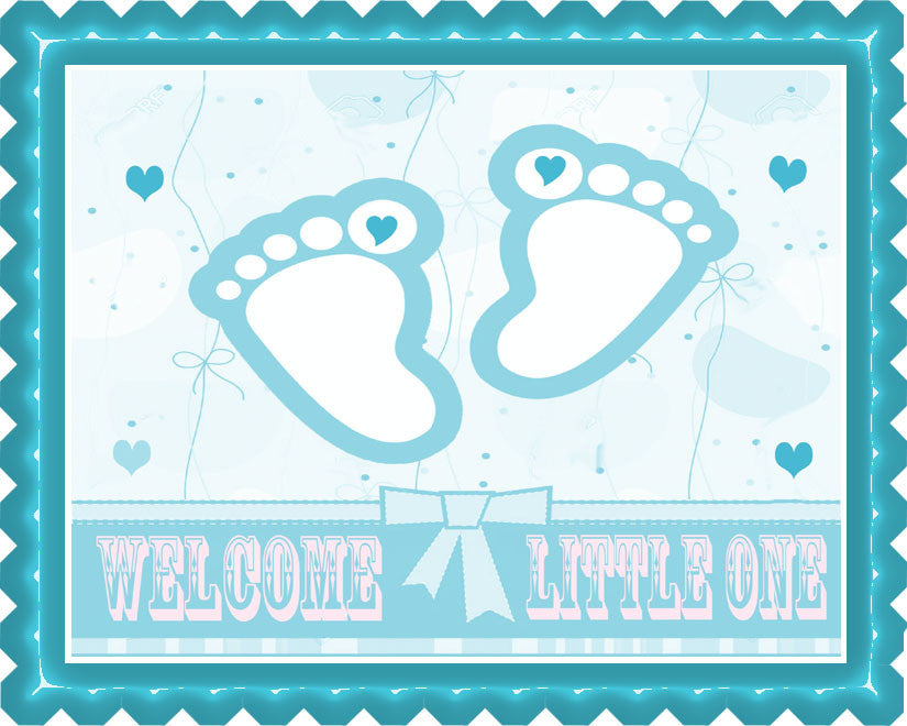 Blue Baby Feet Foot Edible Birthday Cake Topper OR Cupcake Topper, Decor