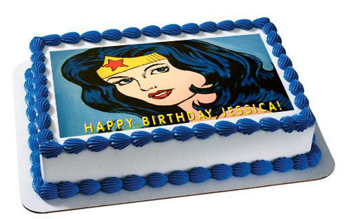 WONDER WOMAN Edible Birthday Cake Topper OR Cupcake Decor