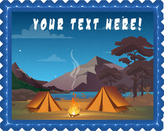 Camping in Night Time Family Camping Tent and Fire - Edible Cake Topper, Cupcake Toppers, Strips
