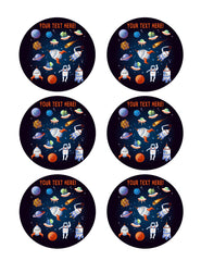 Cartoon Space Elements - Edible Cake Topper, Cupcake Toppers, Strips