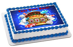 Casino Gambling Roulette Big Lucky Slot Machine - Edible Cake Topper, Cupcake Toppers, Strips
