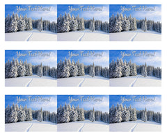 Christmas holidays  Winter Landscape - Edible Cake Topper, Cupcake Toppers, Strips