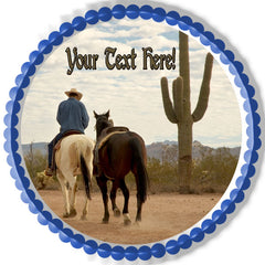 Cowboy with Two Horses - Edible Cake Topper, Cupcake Toppers, Strips