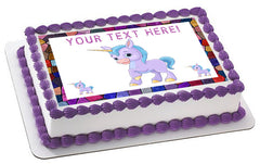 Cute Baby Unicorn - Edible Cake Topper, Cupcake Toppers, Strips