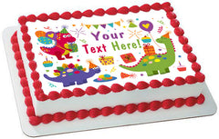 Cute Dinosaurs Birthday - Edible Cake Topper, Cupcake Toppers, Strips