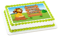 Cute Lion Cartoon with Wooden Sign - Edible Cake Topper, Cupcake Toppers, Strips