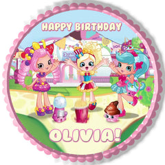 Cute Shopkins Shoppies Edible Birthday Cake Topper OR Cupcake Topper, Decor - Edible Prints On Cake (Edible Cake &Cupcake Topper)