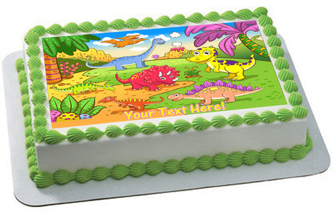 Cute dinosaurs in prehistoric scene - Edible Cake Topper, Cupcake Toppers, Strips