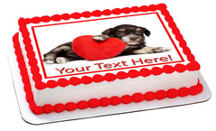 Cute dog with heart - Edible Cake Topper, Cupcake Toppers, Strips