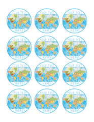 Detailed World Map - Edible Cake Topper, Cupcake Toppers, Strips