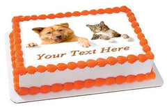 Dog and Cat - Edible Cake Topper, Cupcake Toppers, Strips