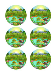 Duck Pond Near the Forest and Mountain - Edible Cake Topper, Cupcake Toppers, Strips