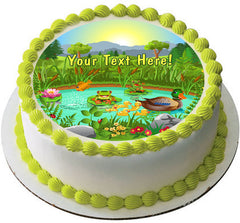 Duck Pond Near the Forest and Mountain - Edible Cake ...