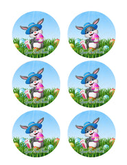 Easter Bunny with Egg - Edible Cake Topper, Cupcake Toppers, Strips