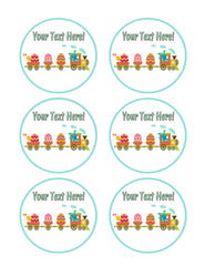 Easter Train - Edible Cake Topper, Cupcake Toppers, Strips