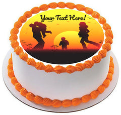 Family Sunset Silhouette - Edible Cake Topper, Cupcake Toppers, Strips