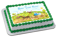 Farm With Farm Animals - Edible Cake Topper OR Cupcake Topper, Decor