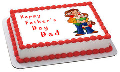 Father's Day 1 Edible Birthday Cake Topper OR Cupcake Topper, Decor - Edible Prints On Cake (Edible Cake &Cupcake Topper)