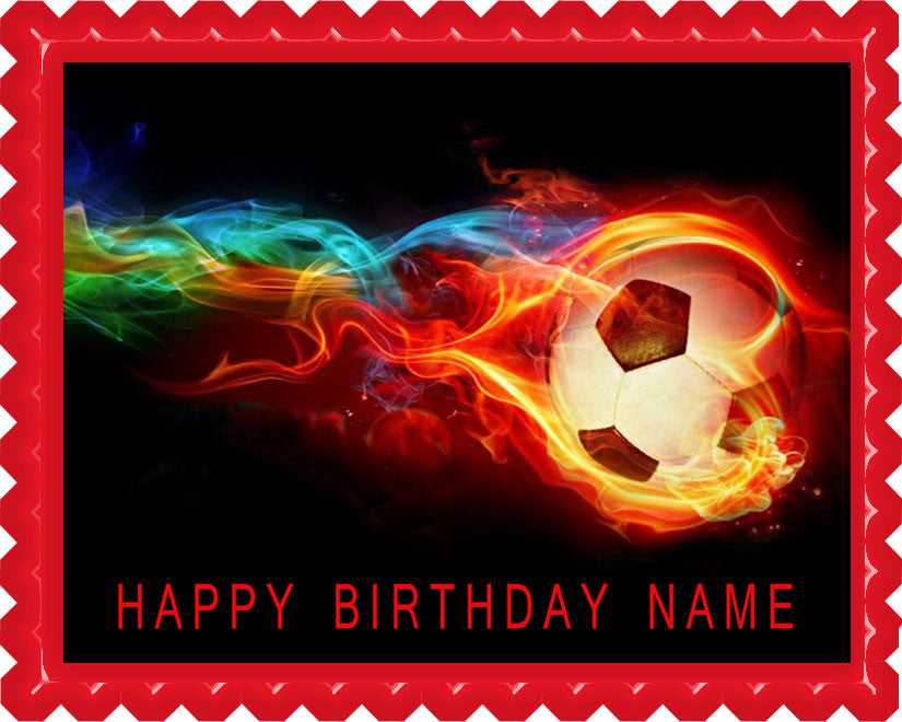 Flaming Soccer Ball Edible Birthday Cake Topper OR Cupcake Topper, Decor