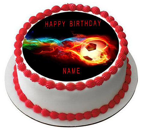 Flaming Soccer Ball Edible Cake Topper Amp Cupcake Toppers