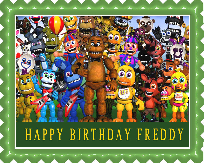 Fnaf World 2 Edible Birthday Cake Topper OR Cupcake Topper, Decor