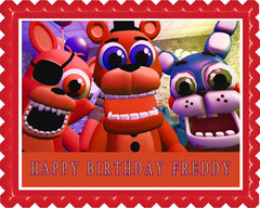 Fnaf World 4 Edible Birthday Cake Topper OR Cupcake Topper, Decor