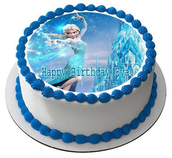 Frozen Elsa Edible Birthday Cake Topper OR Cupcake Decor