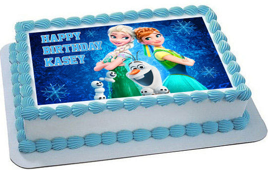 Frozen Fever Elsa Anna Edible Birthday Cake Topper OR Cupcake Decor