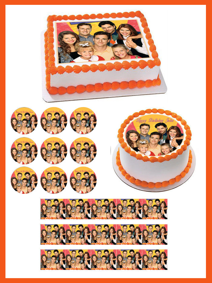 Full House Edible Birthday Cake Topper OR Cupcake Topper, Decor