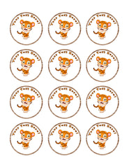Funny Baby Tiger - Edible Cake Topper, Cupcake Toppers, Strips