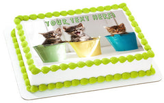 Funny Kittens - Edible Cake Topper, Cupcake Toppers, Strips