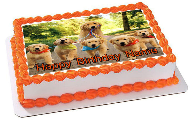 Golden Retriever edible cake image party decoration frosting sheet