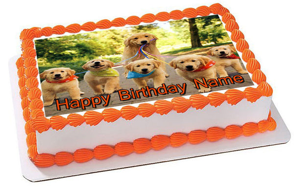GOLDEN RETRIEVER Dog Puppy Edible Cake Topper & Cupcake ...