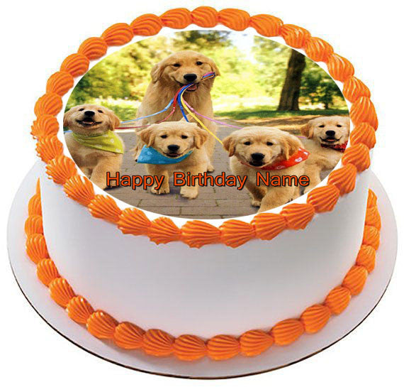 GOLDEN RETRIEVER Dog Puppy Edible Birthday Cake Topper OR Cupcake Decor
