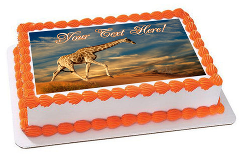 Giraffe on Sand Dune - Edible Cake Topper, Cupcake Toppers, Strips