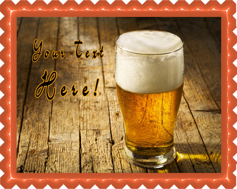 Glass of Beer on Wooden Table - Edible Cake Topper, Cupcake Toppers, Strips