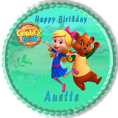 Goldie & Bear 1 Edible Birthday Cake Topper OR Cupcake Topper, Decor - Edible Prints On Cake (Edible Cake &Cupcake Topper)