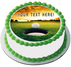 Golf Ball Near Hole - Edible Cake Topper, Cupcake Toppers, Strips