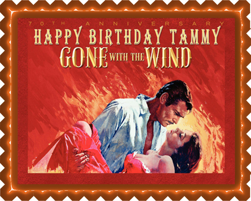 Gone With The Wind Edible Birthday Cake Topper OR Cupcake Topper, Decor - Edible Prints On Cake (Edible Cake &Cupcake Topper)