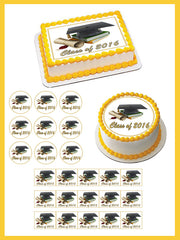 Graduation 2 Edible Birthday Cake Topper OR Cupcake Topper, Decor - Edible Prints On Cake (Edible Cake &Cupcake Topper)