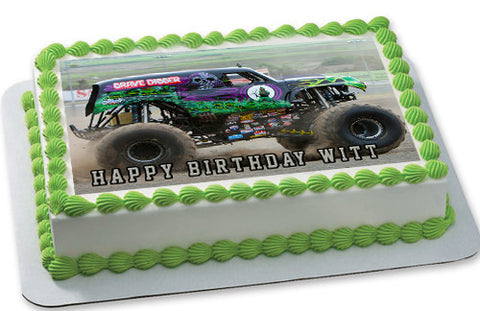 GRAVE DIGGER Monster Truck - Edible Cake Topper OR Cupcake Topper, Decor