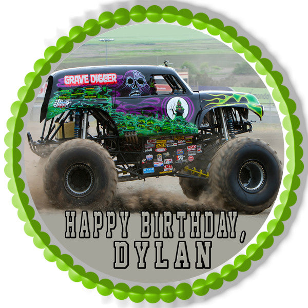 Grave Digger Monster Truck Edible Cake Topper Or Cupcake