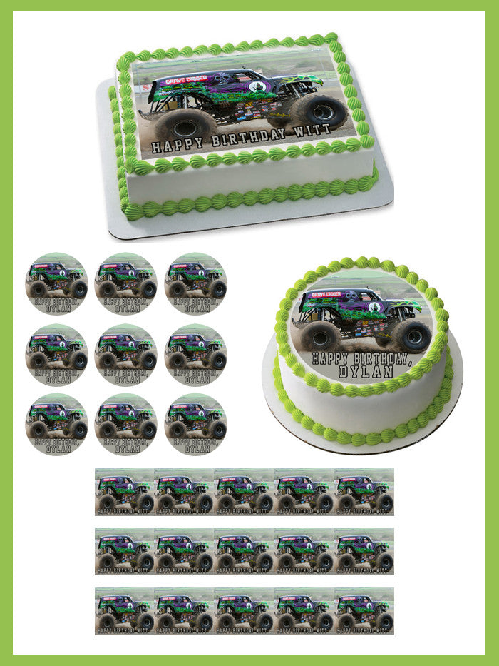 Pleasant Grave Digger Monster Truck Edible Cake Topper Or Cupcake Topper Funny Birthday Cards Online Alyptdamsfinfo