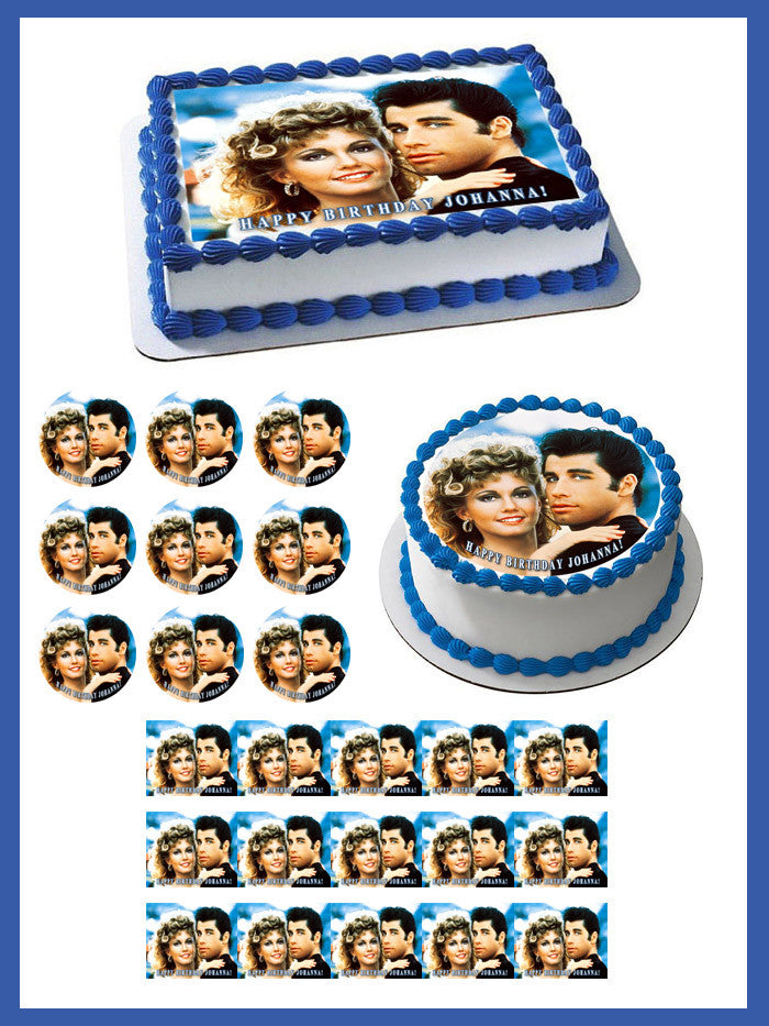 Grease Edible Birthday Cake Topper OR Cupcake Topper, Decor - Edible Prints On Cake (Edible Cake &Cupcake Topper)