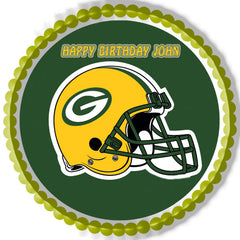 GREENBAY PACKERS Edible Birthday Cake Topper OR Cupcake Topper, Decor