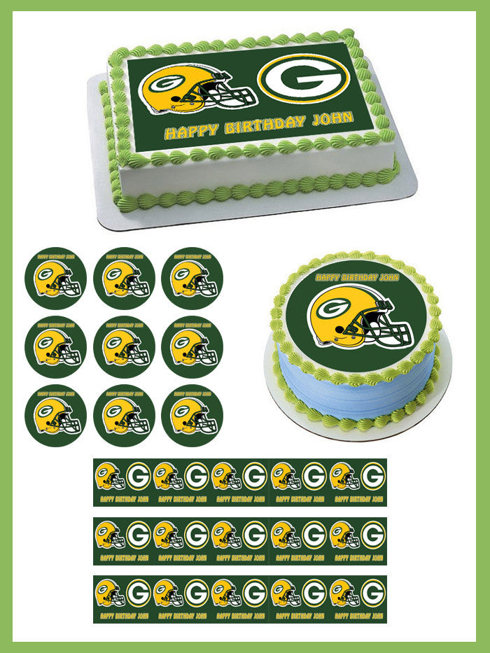Greenbay Packers Edible Birthday Cake Or Cupcake Topper Edible
