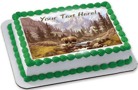 Grizzly Bear in the Rocky Mountains - Edible Cake Topper, Cupcake Toppers, Strips