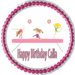 Gymnastics Tumbling Gym Girls - Edible Cake Topper OR Cupcake Topper, Decor